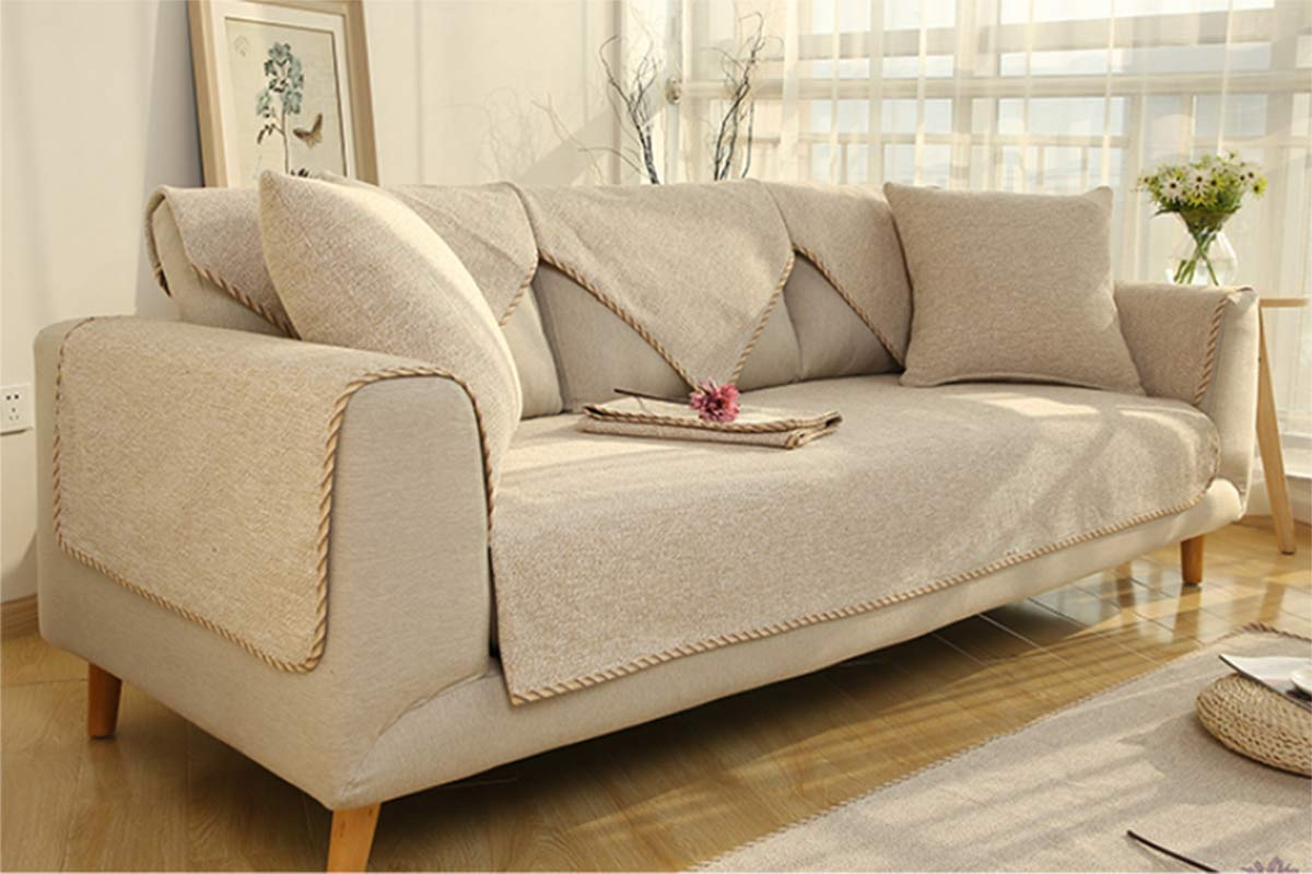 CFJKN Funda de sofá para sofá de Piel, Reversible, Acolchada ...
