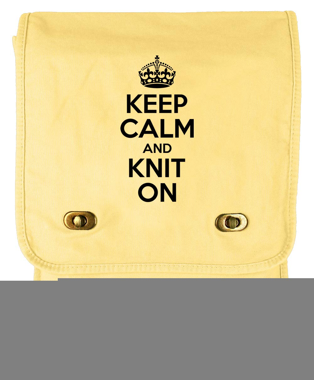 Tenacitee Keep Calm and Knit On Navy Brushed Canvas Messenger Bag