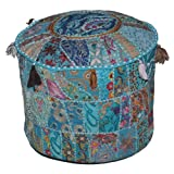 Indian Comfortable Floor Cotton Cushion Ottoman Cover Embellished With Patchwork and Embroidery Work, 18 X 13 Inches