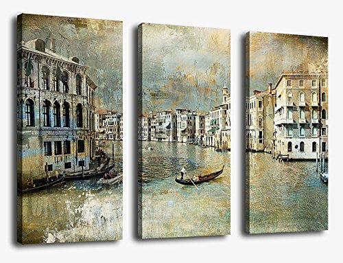 yearainn Wall Art Canvas Prints Vintage Venice Italy Print on Canvas - Old Urban Landscape Canvas Art - Grand Canal Antique Painting Pictures Artwork for Living Room Bedroom Interior Decoration