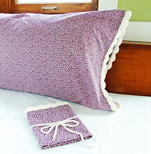 Crochet Pillow Case PURPLE FLORAL with Crochet Edging, Purple Pillowcase Standard Size, Floral Pillow Cases, Vintage Pillow Case, Hand Crochet Items f…