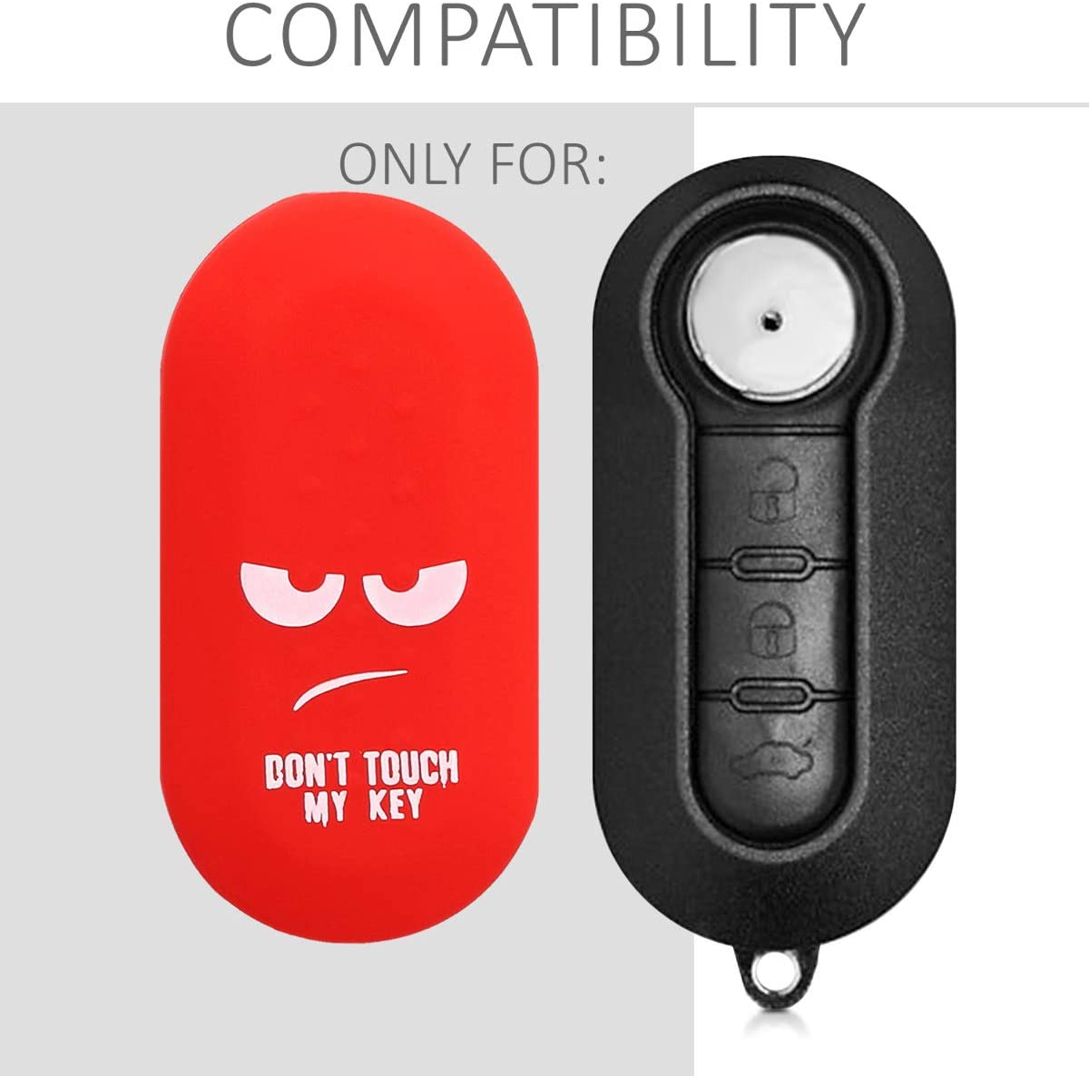 kwmobile Car Key Cover Compatible with Fiat Lancia 3 Button Car Flip Key Silicone Protective Key Fob Cover Dont Touch My Key White//Red