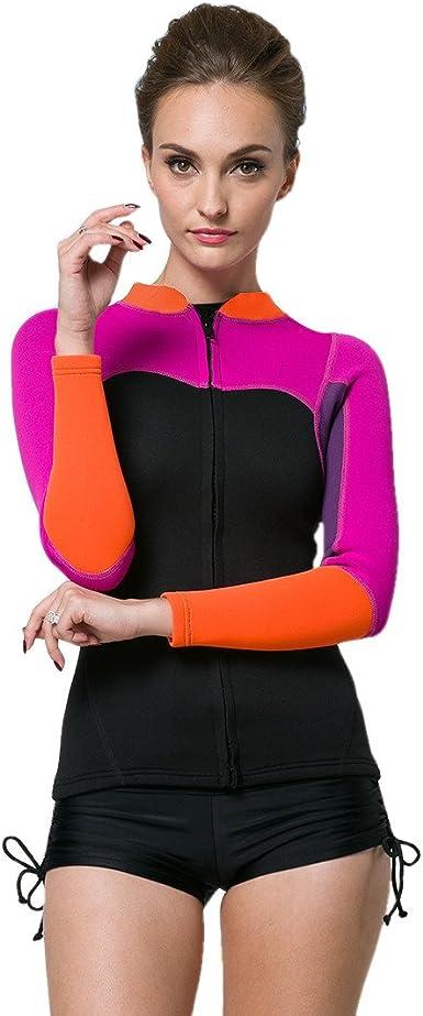 Details about  /Women 2mm Neoprene Diving Coat Jacket Scuba Jump Surf Swim Wetsuits  Zipper Tops