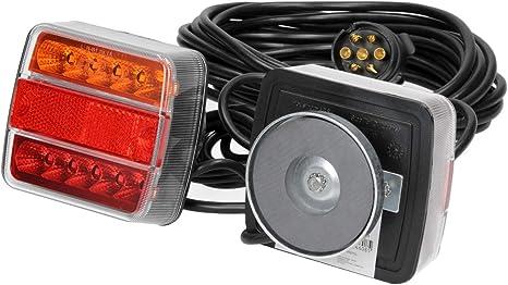 Qiilu Auto Blocchi fari posteriori 1 paio di luci magnetiche per rimorchio a LED per rimorchio con fanale posteriore e lampada da 10 m