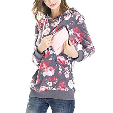 b9518d22636 Nursing Maternity Tops Pregnant Women s Floral Print Hooded Blouse Breastfeeding  Shirts Sweater Coat