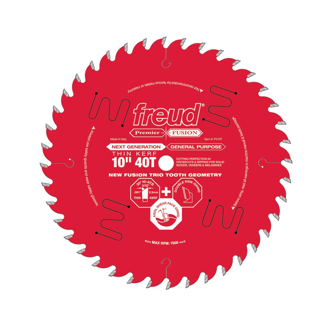 Freud 10'' x 40T Thin Kerf Premier Fusion General Purpose Blade for Crosscuts (3/8'' to 3-1/2'') & Rips (3/4'' to 1-1/2'') wood, laminate, veneered plywood, hardwoods & melamine. (P410T) by Freud