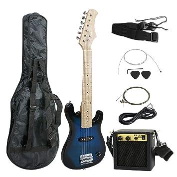 smartxchoices 30 cm niños guitarra eléctrica con amplificador de 5 W y mucho más guitarra Combo
