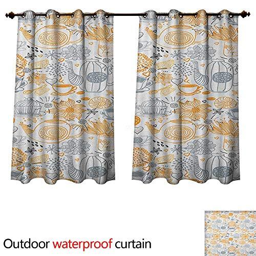 (Tea Party Home Patio Outdoor Curtain Colorful Floral Arrangement with Teacups and Pots Kettle Retro Art Design Nature W72 x L63(183cm x 160cm))