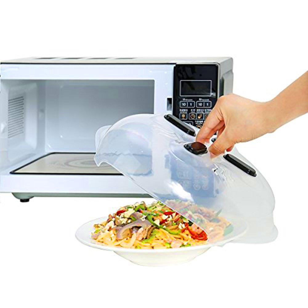 Hover Cover Microwave Plate Cover, Magnetic Microwave Splatter Lid Anti-Sputtering Splatter Guard with Steam Vents,Food-grade PP Material, BPA-free 11.8Inches (Anti-scalding Oven Mitts for FREE) CGBOOM