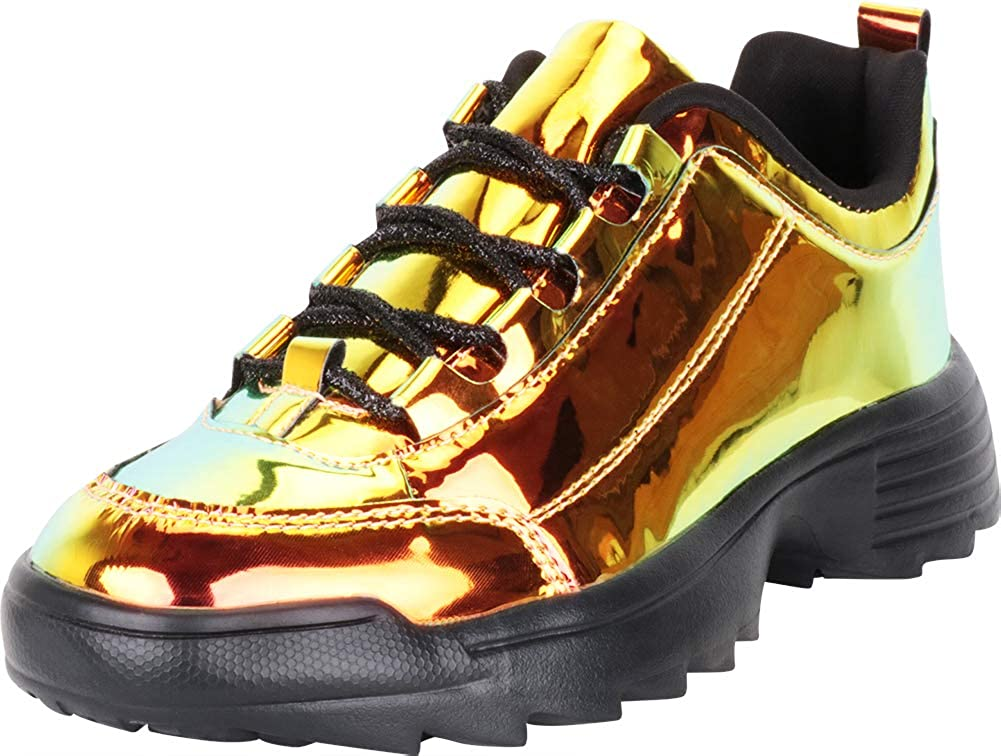 gold Cambridge Select Women's Low Top 90s Ugly Dad Iridescent Holographic Lace-Up Chunky Fashion Sneaker