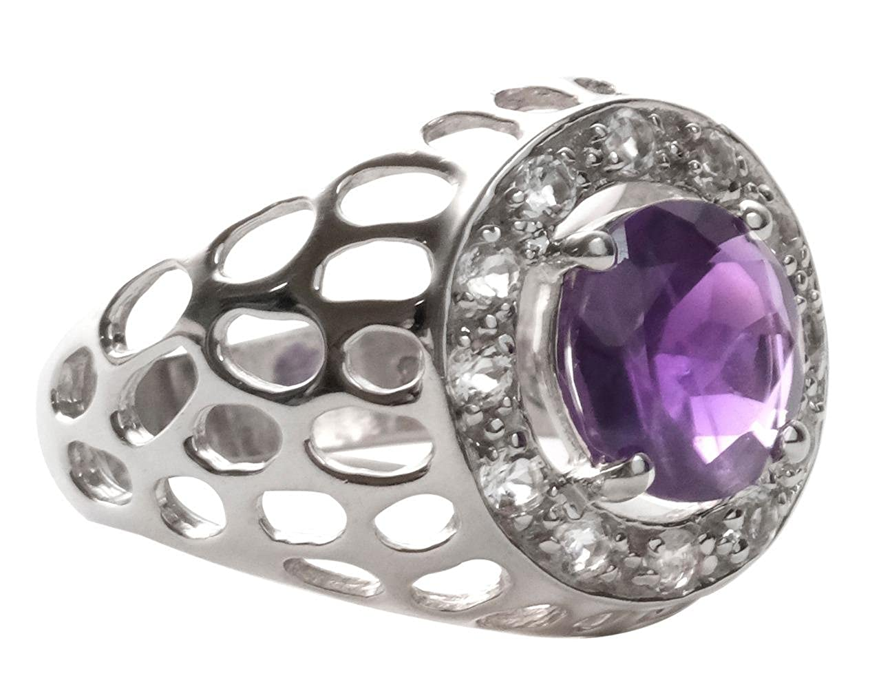 African Amethyst White Topaz 925 Sterling Silver Ring Silver Jewelry