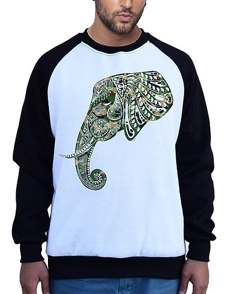 fb19823b9 Men s Camo Tribal Elephant Head B229 Ply Raglan Baseball SweatShirt Small
