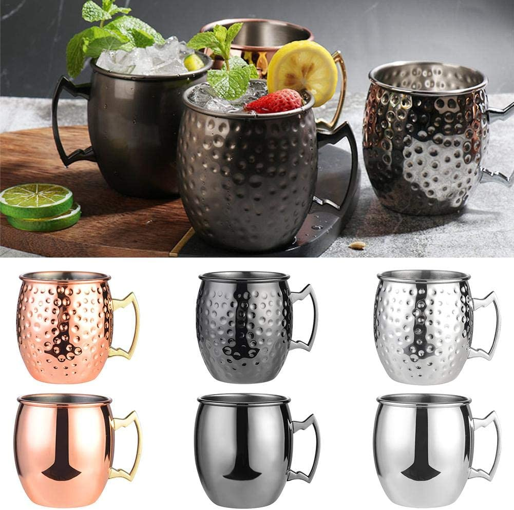 SHZONS Moscow Mule Copper Mug Handcrafted 304 Stainless Steel Cup Cocktail Glass Beer Mugs 18oz Premium Gift for Drink Lovers