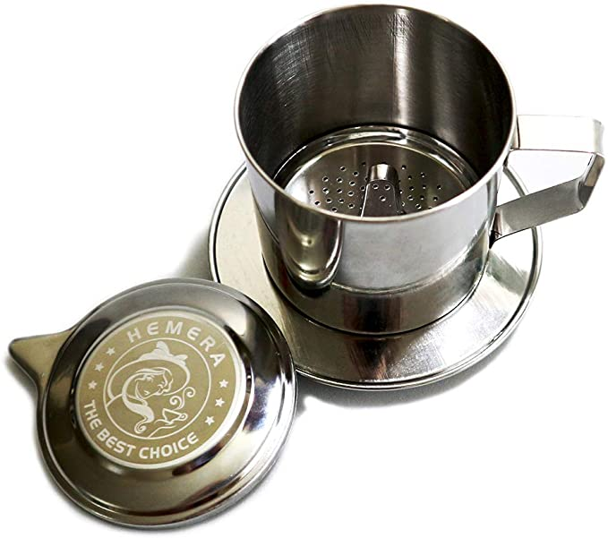 HEMERA Vietnamese Coffee Maker Traditional Drip Coffee Filter Stainless Steel Cup Portable Coffee Maker Single-cup Serving For Camping Travel. Made In Vietnam
