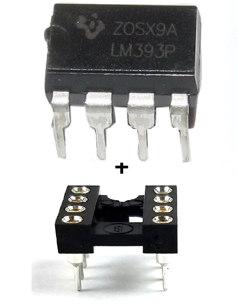 Texas Instruments LM393P IC Dual Differential Comparator & 8-Pin Dip Sockets with Machined Contact Pins (Pack of 20)
