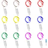 LXINGS 12 PCS Starry Fairy Lights 6.5ft 20 LED Silver Wire Battery Powered Fairy Rope Light for Halloween Party Christmas Wedding Parties Decoration(6 Colours)