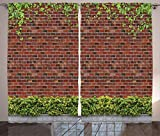 Cheap Ambesonne Rustic Home Decor Curtains by, Brick Wall with Creeper Plants and Leafs Natural Beauty Pattern, Living Room Bedroom Window Drapes 2 Panel Set, 108W X 108L Inches, Tile Red Green White