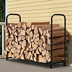 Amagabeli 4ft Outdoor Firewood Log Rack for Fireplace Heavy Duty Wood Stacking Holder for Patio Deck Metal Logs Storage Stand Steel Tubular Wood Pile Racks Outside Fire place Tools Accessories Black