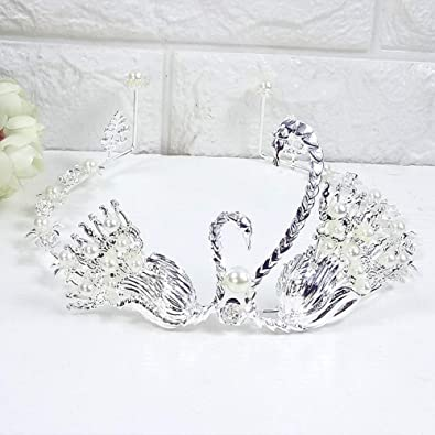 Marvelous Fliyeong Crown Cake Decoration Pearl Crystal Alloy Queen Crown Funny Birthday Cards Online Elaedamsfinfo