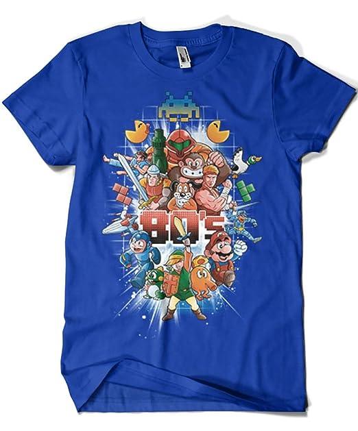 Camisetas La Colmena 4600-Camiseta Premium, 80S Games (Skullpy) - Azul Royal