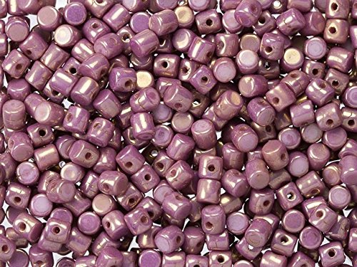 Minos Par Puca Glass Beads 2.5x3mm for Jewelry Making, Bead Weaving, Bead Loom and Other DIY Projects 10 Grams (aprox 200-230 pcs) - Opaque Mix Lila and Gold Luster - Gold Lila Necklace