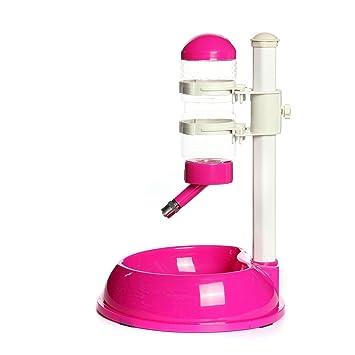 SODIAL Dispensador de agua potable Alimentador de Tazon de alimentos plato plato Botella para Perro mascota, Rosa rojo