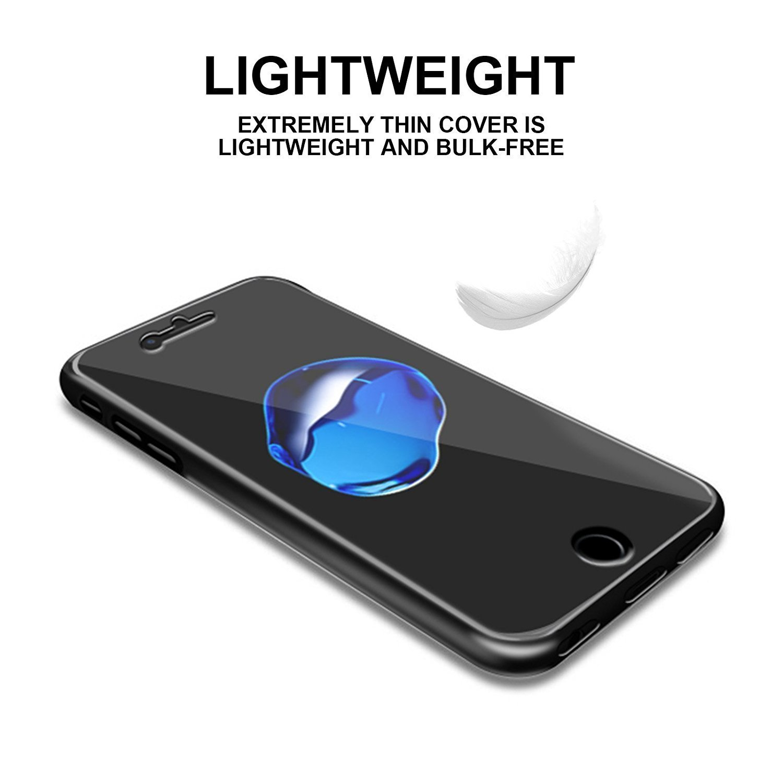 LINCIVIUS  Coque Iphone 8 Integrale, Housse Iphone 8 4.7 Etui Ultra Slim TRANSPARENT Protection 2 en 1 Resistante Souple Avant Et Arrière Gel Acrylique et Silicone