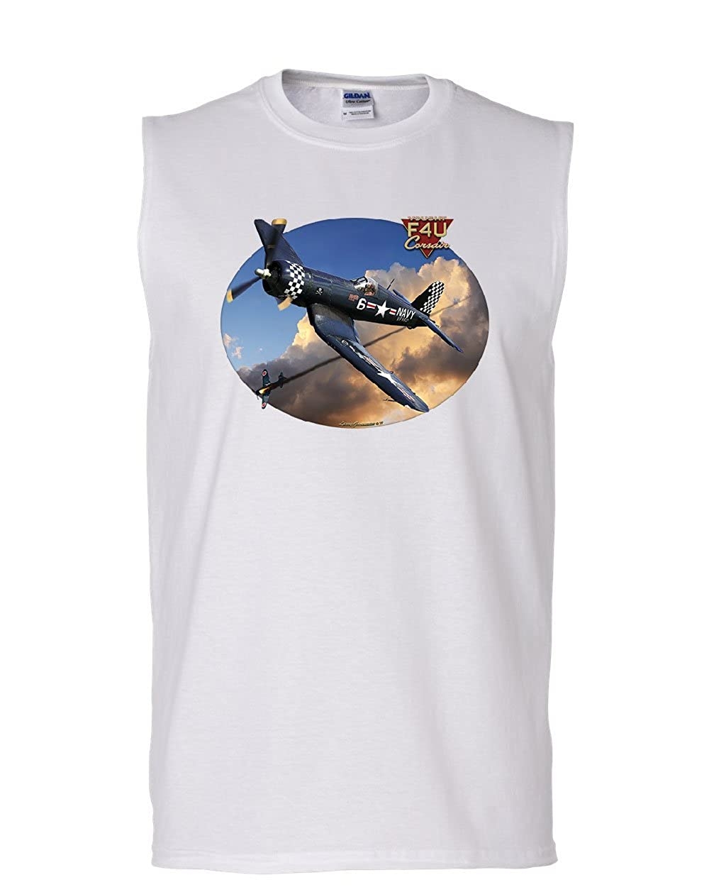 Tee Hunt Chance Vought F4U Corsair Muscle Shirt American Fighter Aircraft WW2 Sleeveless