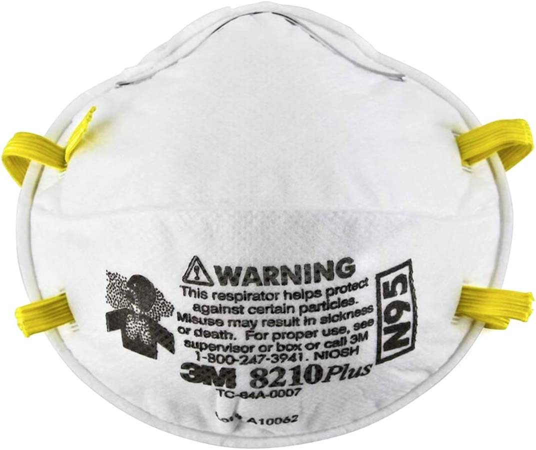 3M NIOSH Approved N95 8210Plus Respirator and Mask Box of 10