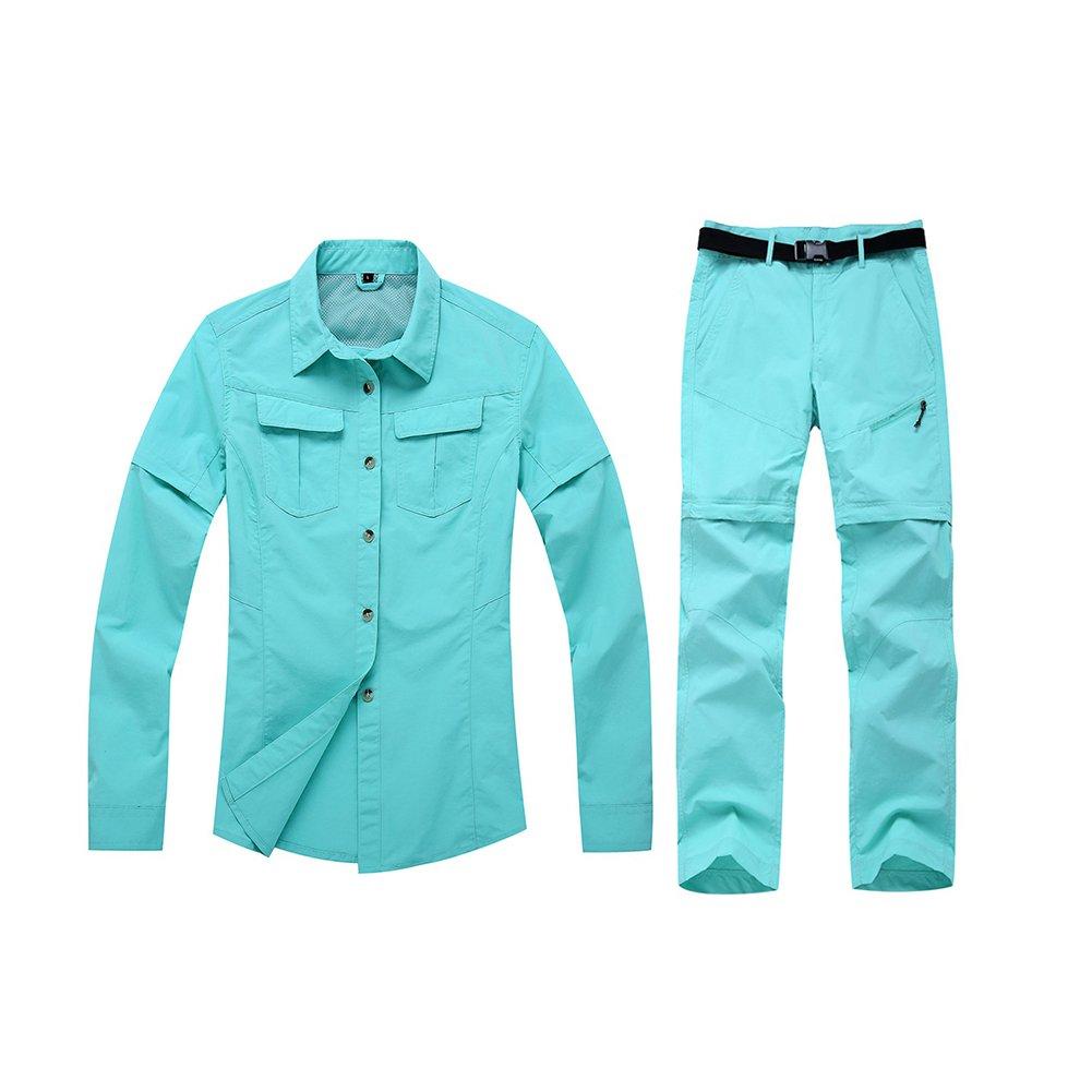 gitvienarレディースアウトドアコンバーチブル速乾性Long and Short変更シャツパンツスーツSportwear forハイキングキャンプ B07254J641 Medium ライトブルー ライトブルー Medium