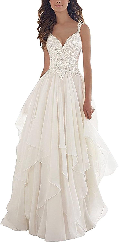 KevinsBridal Lace V Neck Wedding Dress Illusion Chiffon Beach Wedding Gown Straps