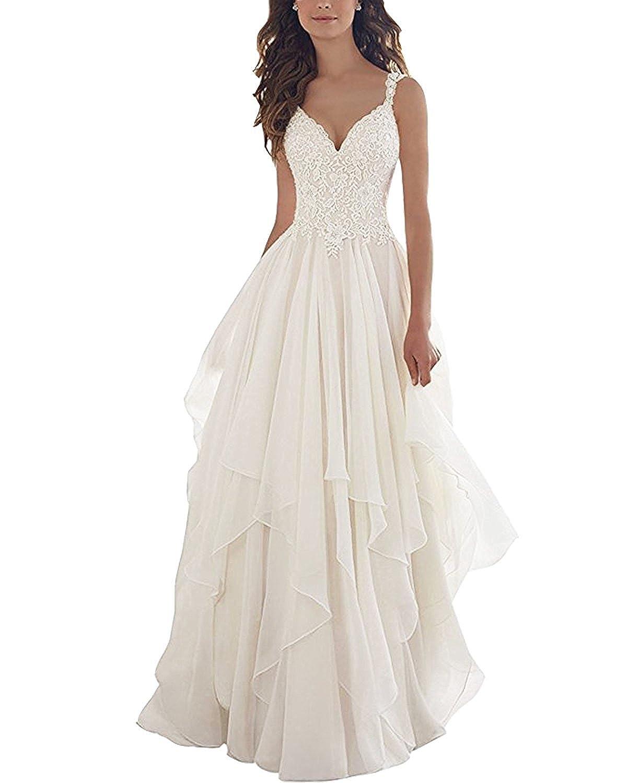 Kevins Bridal Lace V Neck Wedding Dress Illusion Chiffon Beach
