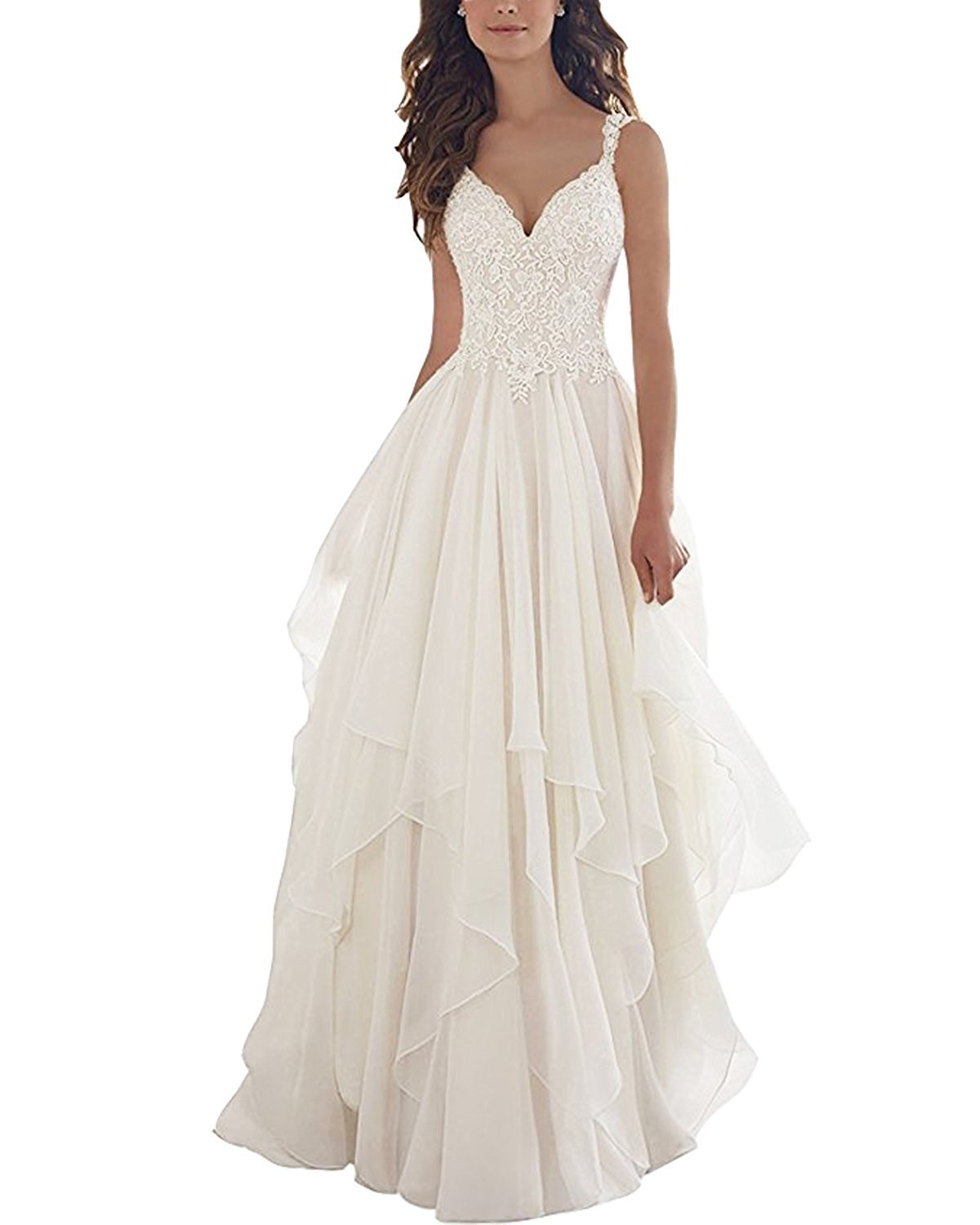 Kevins Bridal Lace V Neck Wedding Dress Illusion Chiffon Beach Wedding Gown Straps White Size 6