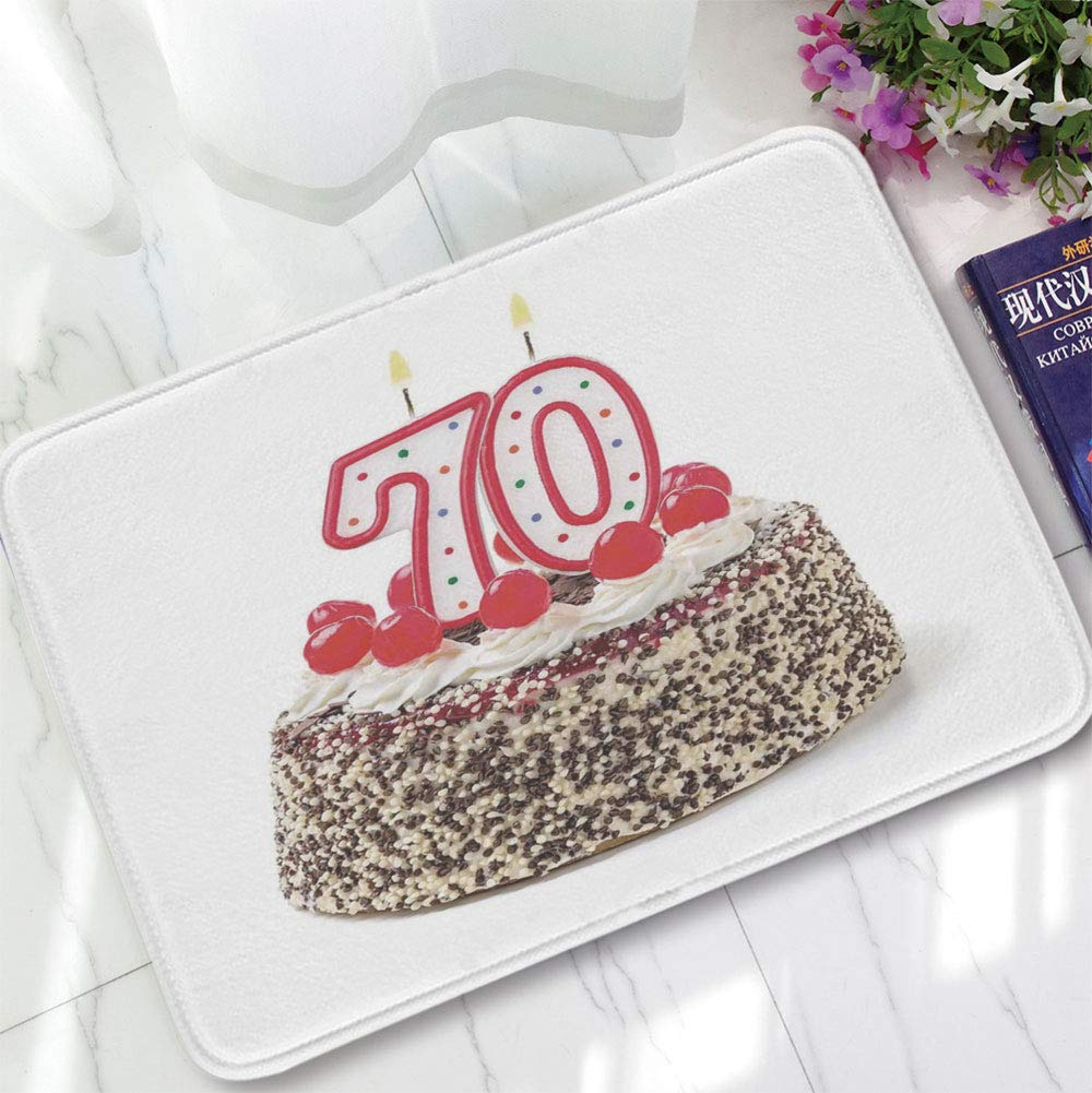 YOLIYANA Short Fur Floor Mat,70th Birthday Decorations,for Home Meeting Room,15.75''x23.62'',Birthday Cake with 70 Number Candles