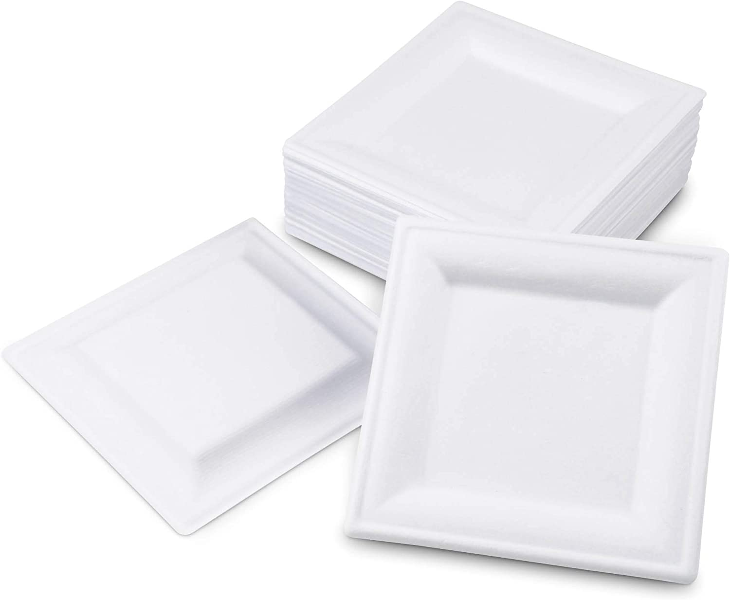 """[100 Pack] Square 6"""" x 6"""" Biodegradable Bagasse Plates - White Eco Friendly Microwave Safe Sugarcane Compostable 100% Natural and Plastic Free Plate"""