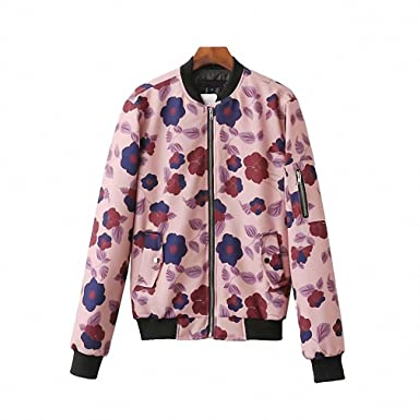 Women Floral Bomber Jacket Coat Autumn Warm Padded Coat Stand Collar Pockets Casual Outerwear Tops Chaqueta