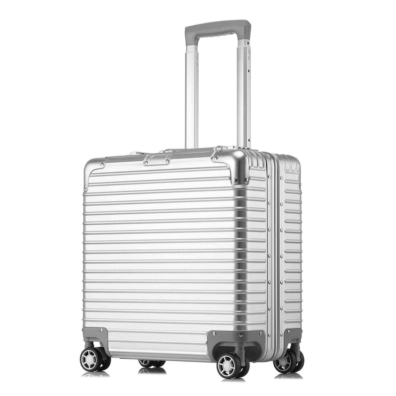 kroeus(クロース)横型ビジネスキャリーケース アルミ合金ボディ 8輪 機内持ち込みタイプ TSAロック搭載 小型 出張 スーツケース 1年間保証付き B07QHYLZZM シルバー