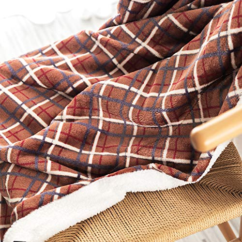 (Sherpa Fleece Throw Blanket 50 by 60 inch Super Soft Reversible Microfiber for Sofa Comforter Couch Bed Living Room Check Plaid Winter Decor Plaid)