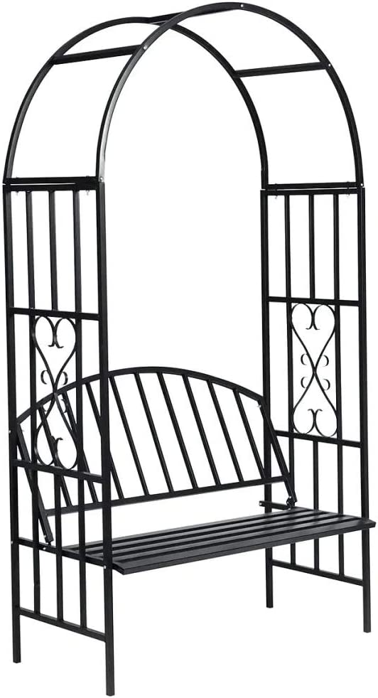 ZAMAX Stainless Powder Coated Black Metal Outdoor Garden Arbor Patio Bench with Intricate Scrollwork Design Ideal for Climbing Vines and Plants, Backyard Landscape Design