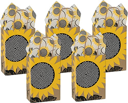 - Small Gift Bags with Coordinating Tissue Paper 5 Count (Sunflower Fields)