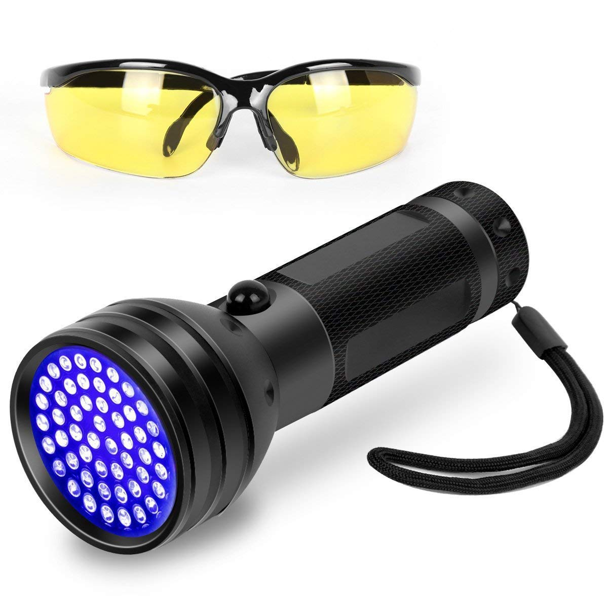UV Flashlight Pet Urine Detector with Amber Glasses Great for Finding pet Stains High Powered 100 LED 395NM by LS