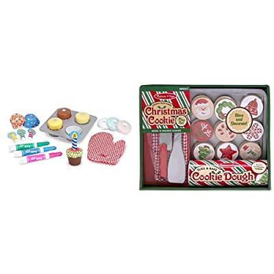 """Melissa & Doug Bake & Decorate Cupcake Set (Pretend Play, Colorful Wooden Play-Food Set, Materials, 25 Pieces, 13"""" H x 10.4"""" W x 3"""" L) & Slice and Bake Wooden Christmas Cookie Play Food Set: Toys & Games"""