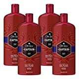 Old Spice Captain Men's 2 in 1 Shampoo and Conditioner, 4 Count