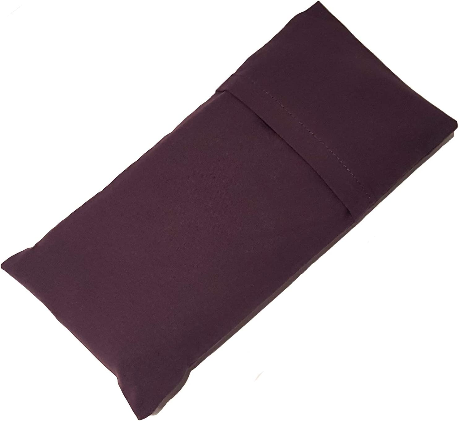 Ruth White Yoga Products Ltd Eggplant Aubergine Classic Plain Cotton Eye Pillow filled with Flaxseeds and a hint of Lavender