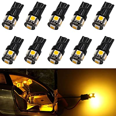10-Pack Newest,6th Generation 194 T10 168 2825 158 Super Bright Amber/Yellow LED Light,AMAZENAR 5 SMD Car Interior Replacement Bulb For Map Dome Courtesy Trunk License Plate Side Marker Light: Automotive