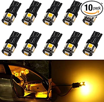 10pcs T10 Wedge 12V Super Bright Side Marker Light 168 2825 Amber LED Light