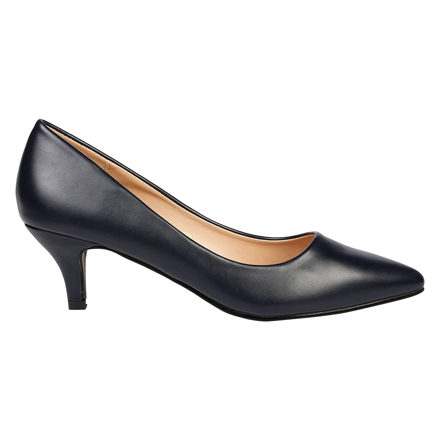 6f8cda642a40 ByPublicDemand Miranda Womens Low Kitten Heel Slip On Pointed Toe Court  Shoes  Amazon.co.uk  Shoes   Bags