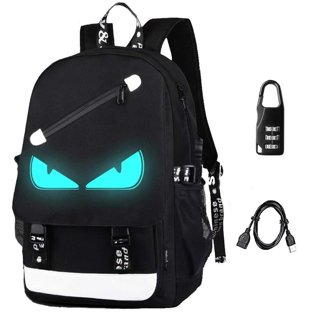 Anime Backpack Luminous Backpack Men School Bags Boys Girls Cartoon Bookbag Noctilucent USB Chargeing port&anti-theft Daybag Women (Evil eye)