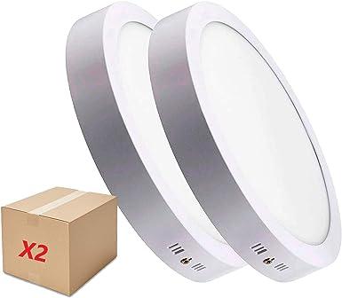Oferta amazon: PACK DE 2 DOWNLIGHT PANEL SUPERFICIE LED CIRCULAR 20W plafon Redondo Para Techo y Pared LUZ BLANCA FRÍA [Clase de eficiencia energética A++]           [Clase de eficiencia energética A++]