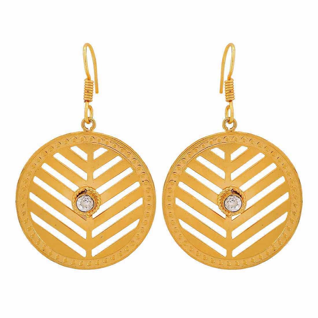 Maayra Filigree Earrings Golden Dangler Drop Dailywear Jewellery